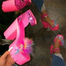 Sexy Feather Women Sandals Peep Toe High Heels Platform Sandals Shoes Woman Heels Chaussures Femme Summer Pumps Women Large Size high quality women sandals stylish platform peep toe square heels sandals black beige nice shoes woman us size 3 5 10 5