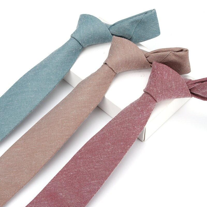 Luxury 6CM Man Skinny Ties 100% Cotton Narrow Necktie Solid Color Men Woven Wedding Party Gravatas Slim Neckwear Accessories