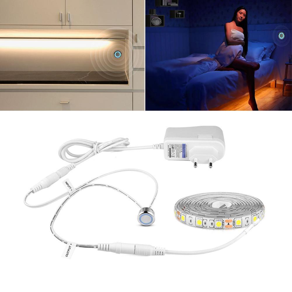 Interruptor com regulação do fluxo luminoso, fita de led à prova d'água sensor de toque inteligente, armário de cozinha para casa 5050 2835 smd lâmpada de luz