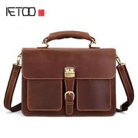 AETOO Retro leather men's large capacity briefcase head laptop bag crazy horse skin 16 inch computer Messenger bag