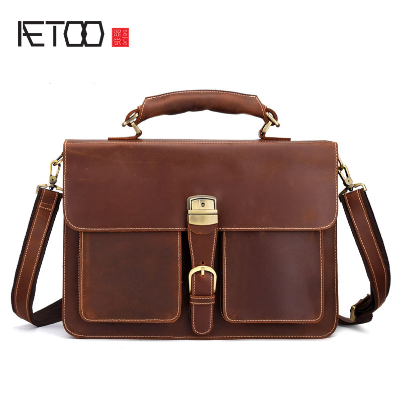 AETOO Retro Leather Men's Large-capacity Briefcase Head Laptop Bag Crazy Horse Skin 16 Inch Computer Messenger Bag