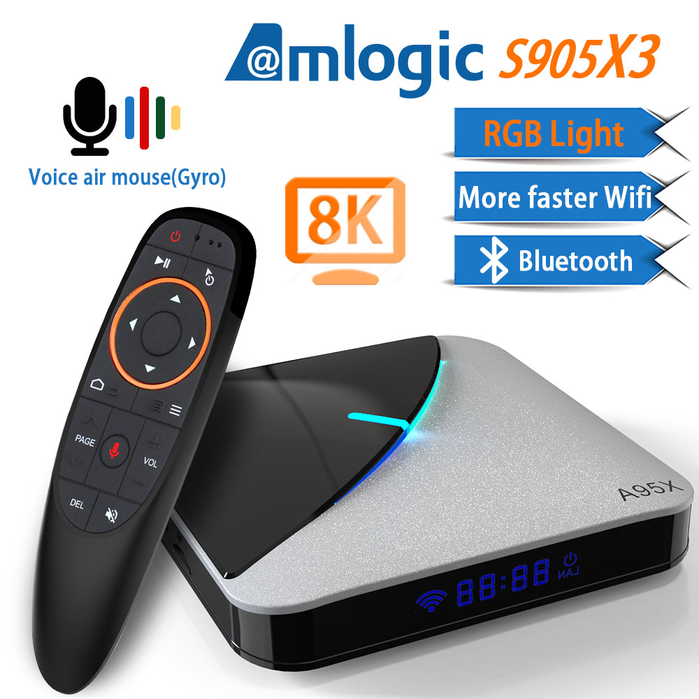 Transpeed A95X Air 8K Android 9.0 TV BOX Amlogic S905X3 4K Youtube Netflix wifi 4GB 16GB 32GB 64GB RGB Light IPTV TV Box