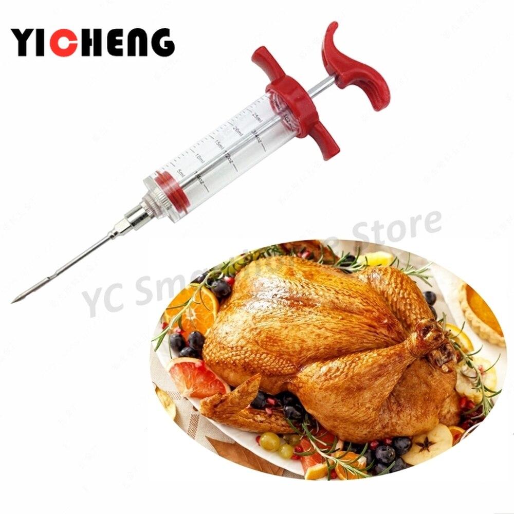 1 pçs marinada injector tempero seringa churrasco molho seringa agulha cozinha gadgets, boa injeção ajudante de molho de churrasco.