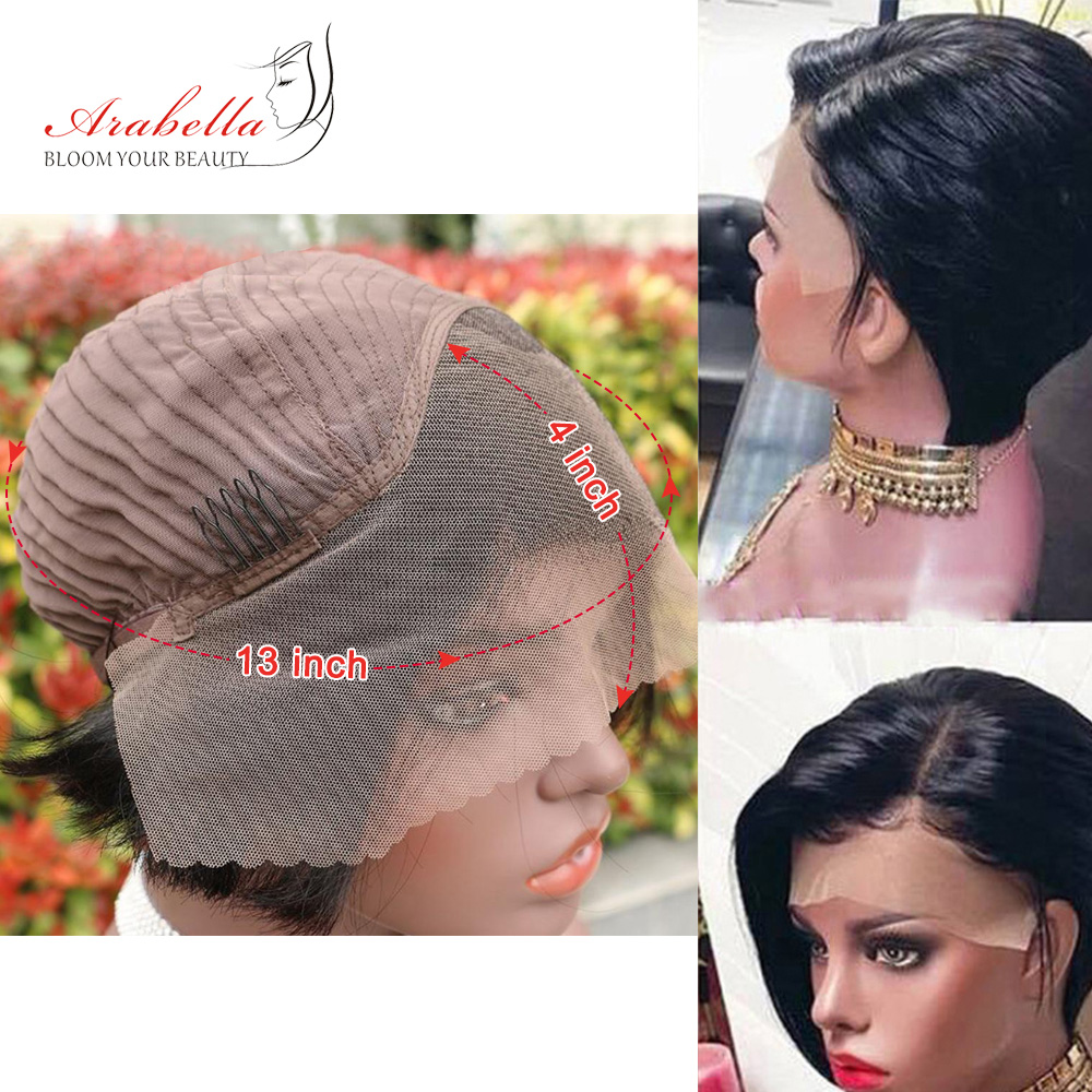 13x4 Pixie Cut Bob Wig Straight  Hair Lace Front Wig With Baby Hair Arabella Pre Plucked Lace Front Bob Wig 3