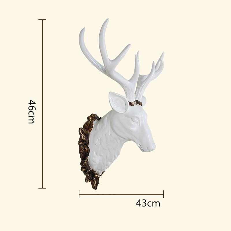 Grote Herten Hoofd Standbeeld Woondecoratie Accessoires 3D Dier Abstracte Sculptuur Muur Hang Decor Kerst Standbeeld Woonkamer Muurschildering - 6
