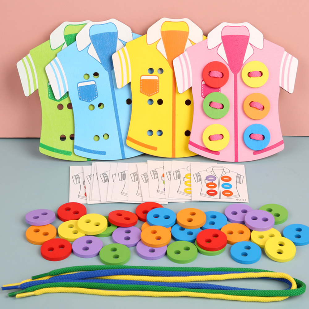 Montessori Educational Wooden Toy Children DIY Wear Clothes Rope Sewing Button Parent-Children Game Toys 2020 New  For Kids