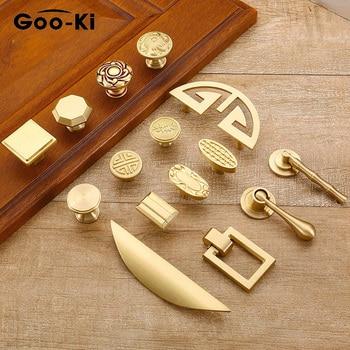 European Vintage Gold Knob Pure Copper Kitchen Cabinet Handles Cupboard Door Pulls Drawer Knobs Brass Furniture Handle Hardware