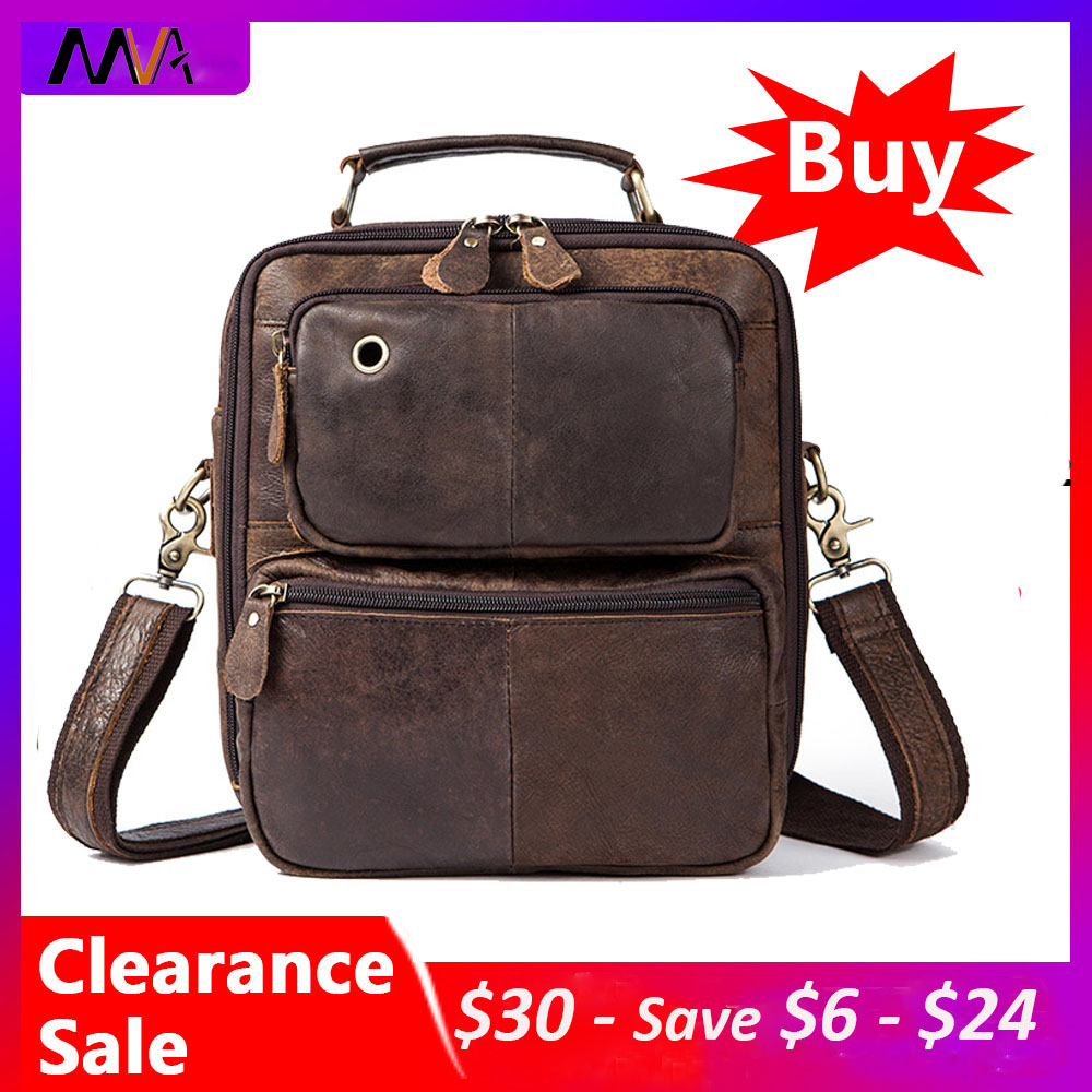 MVA Clearance Messneger Bag Men Shoulder Bag Male Genuine Leather Men's Bags Top-handle Crossbody Bags Man Handbags Leather 8951