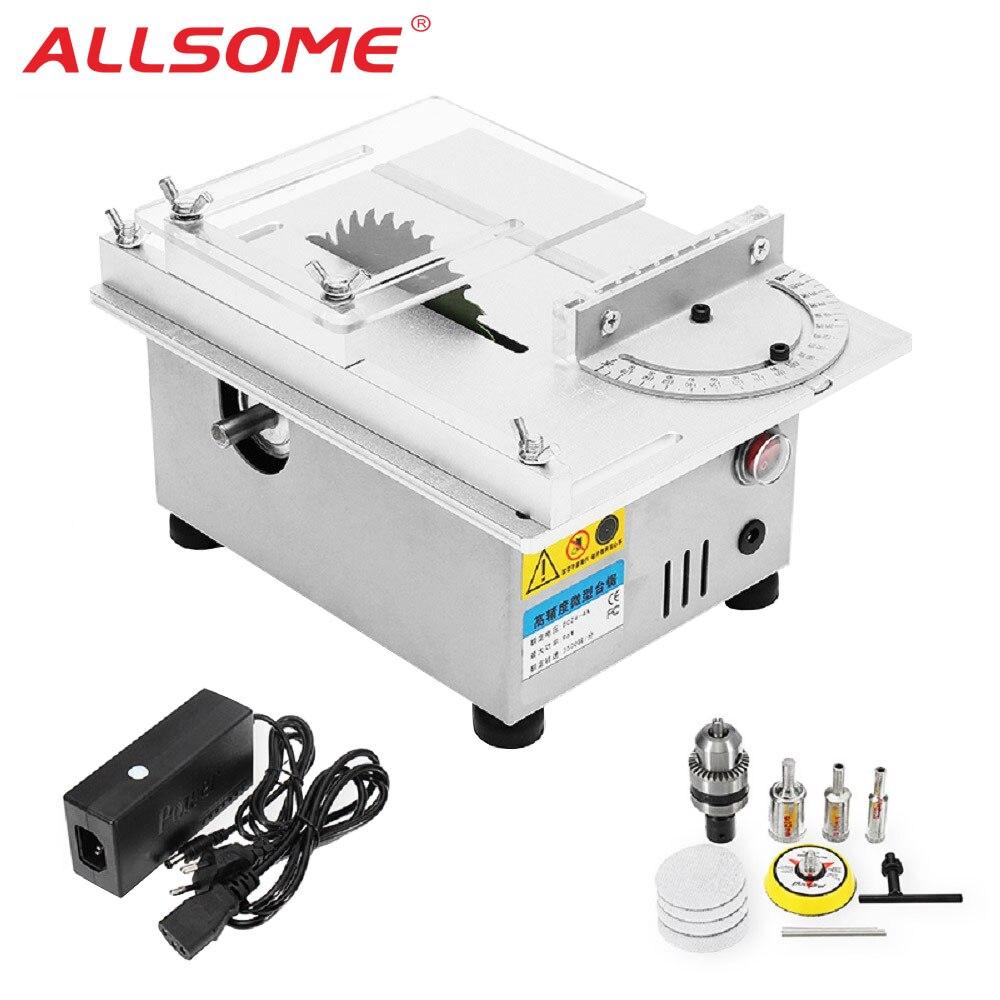 ALLSOME T4 мини настольная пила ручной работы деревообрабатывающий токарный станок Электрический полировщик шлифовальный станок DIY циркулярна...