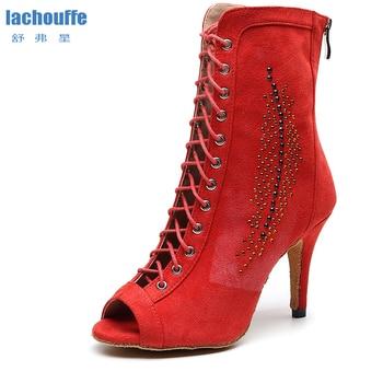 Women Flannel Latin Dance Shoes Red Ladies Rhineston Ballroom Tango for Dancing Woman High Top Salsa Boots EU33-43