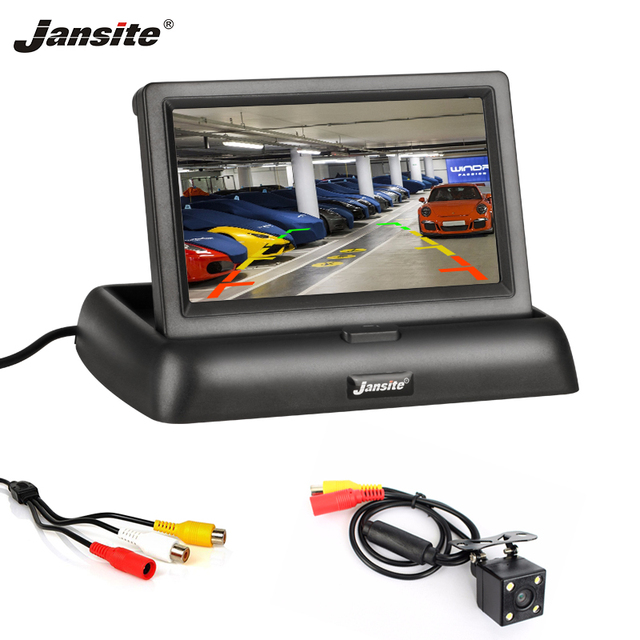 "Jansite 4.3 ""TFT LCD מתקפל רכב צג HD תצוגת מצלמה הפוכה מצלמה Paking מערכת לרכב אוטומטי האחורי מוניטורים NTSC PAL"