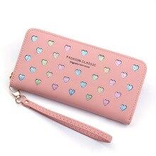 Женский кошелек из искусственной кожи, длинный дизайн с сердечком, милый кошелек для телефона, вместительный держатель для карт, клатч, кошельки, Carteira Feminina