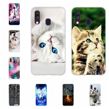 For Samsung Galaxy A40 Case Soft TPU Silicone SM-A405F Cover Cat Patterned Bumper
