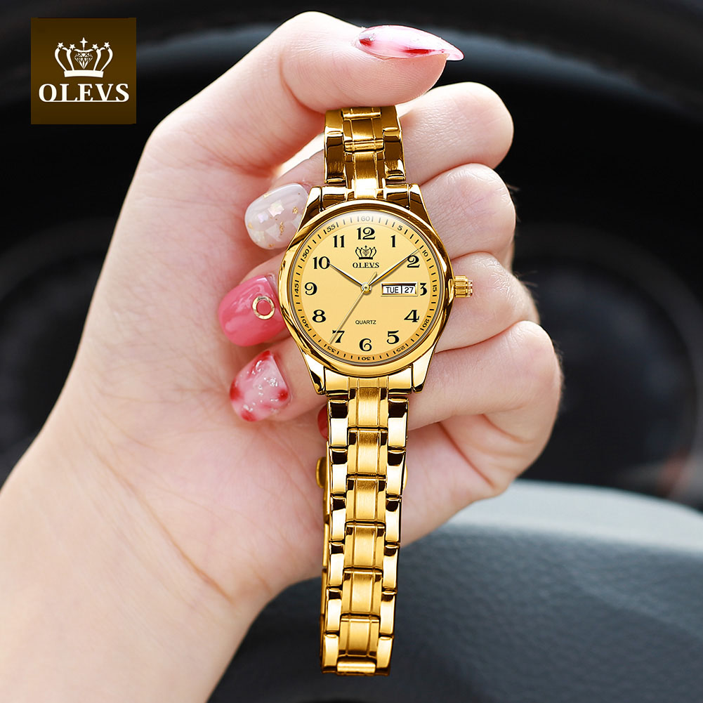OLEVS Watches For Women Analog Quartz Easy Read Number Watch Business Fashion Week Stainless Steel Waterproof Calendar Date