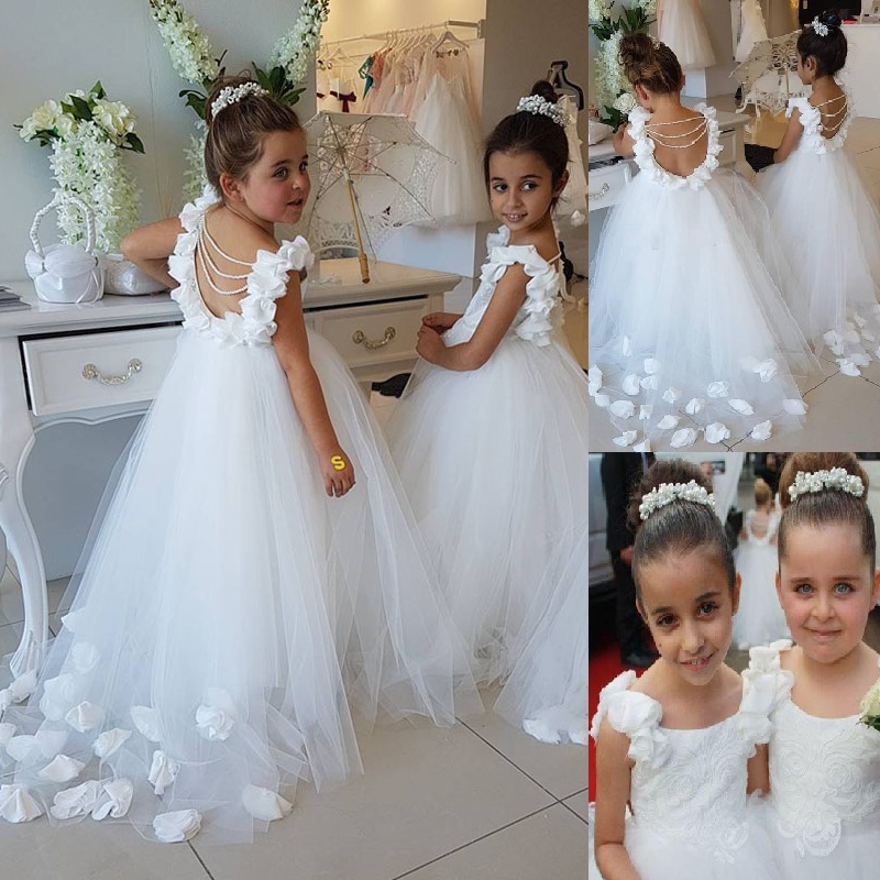 Dresses Flower-Girl Wedding Girl's Princess Formal Sweep-Train Birthday-Party First-Communion-Gowns