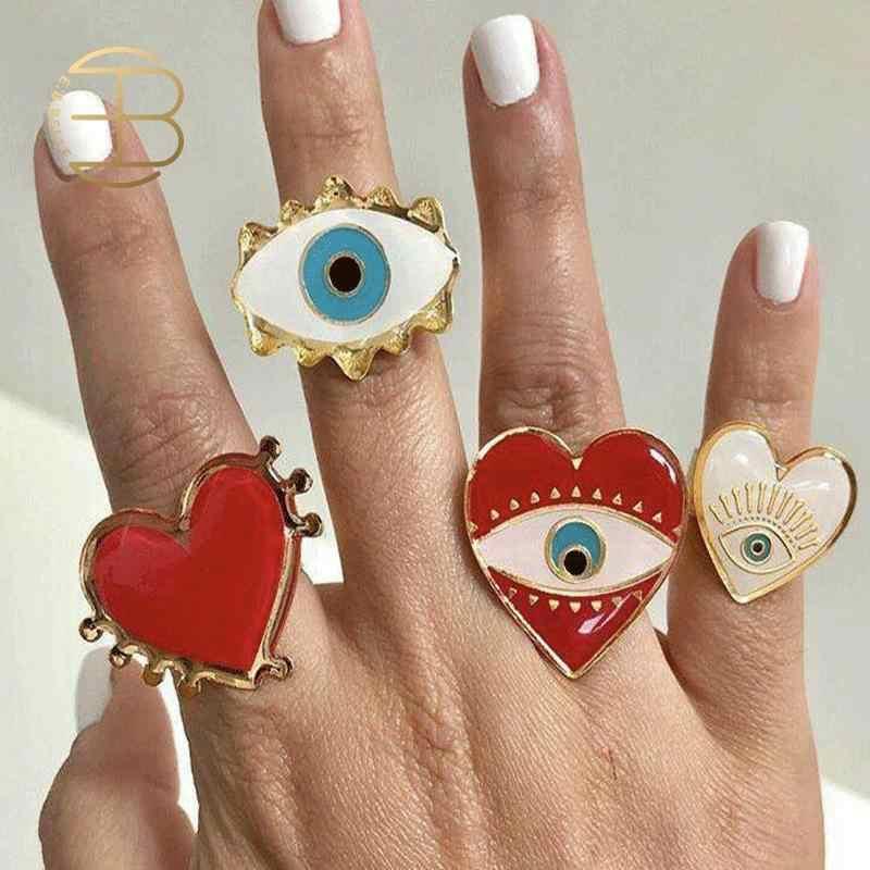 2019 nouveau réglable or rouge coeur mauvais œil mode anneaux pour femmes femme populaire mignon mauvais oeil amour coeur or anneau