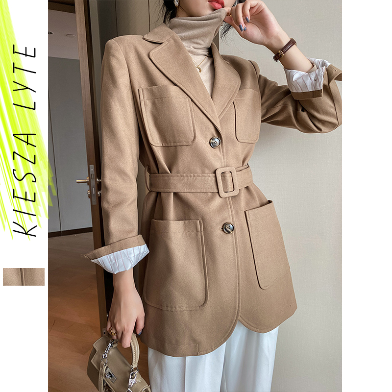 Woollen Blazer For Women's Korean Style Office Lady Fashion Casual Khaki Belted Thickened Suit Jacket Female