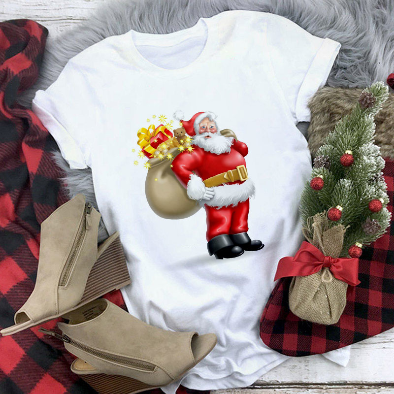 White Suitable All Seasons Tshirt Tops Clothing New Cute Reindeer T Shirt Women Fashion Christmas Harajuku Short Sleeve T-shirt
