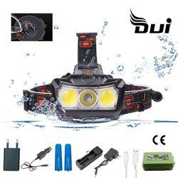 DUI XML T6 + COB LED 3 powerful headlamp torch rechargeable headlight 18650 waterproof led head flashlight cap fishing lamp