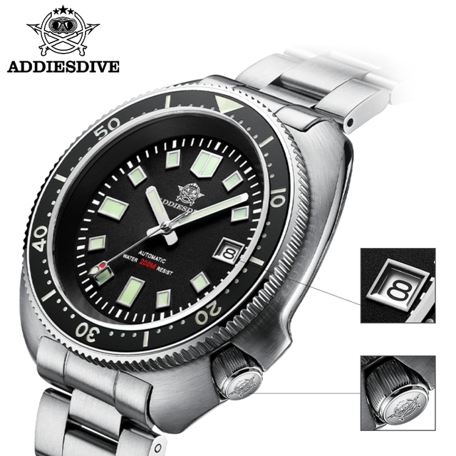 1970 Abalone Dive Watch 200m Sapphire crystal calendar NH35 Automatic Mechanical Steel diving Men's watch 4