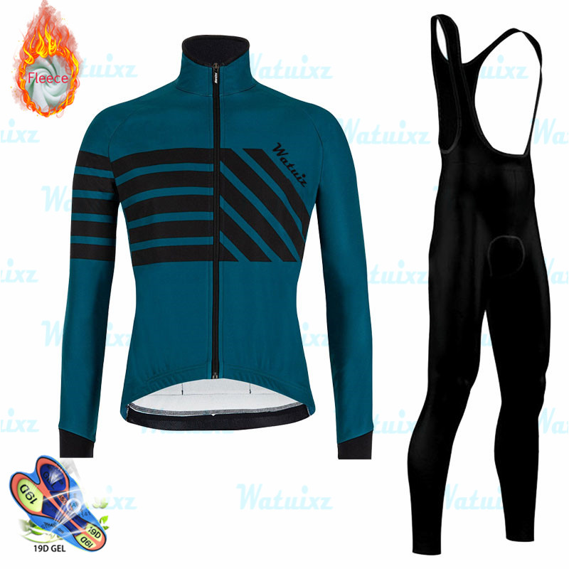 2020 Winter Thermal Fleece Men Pro Long Sleeve Cycling Jersey Set Bicycle Suit Outdoor Sportswear MTB Triathlon Cycling Clothing