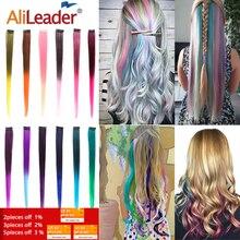 Alileader сделал 20 Цвета 50 см один клип в Одна деталь Наращивание волос Синтетические длинные прямые Ombre серый русый красный Наращивание натуральных волос