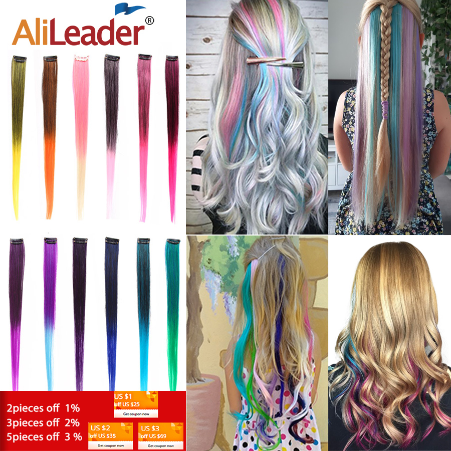 AliLeader Made 57 Colors 50CM Single Clip In One Piece Hair Extensions Synthetic Long Straight Ombre Grey Red Rainbow Hair Piece