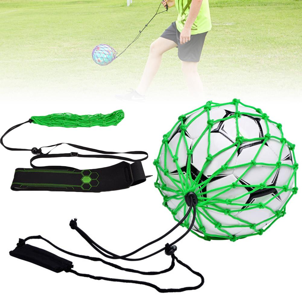 Football Kick Trainer Soccer Training Aid Net Mesh Bag For Kids And Adults Hands Free Solo Practice With Belt Elastic Rope For N