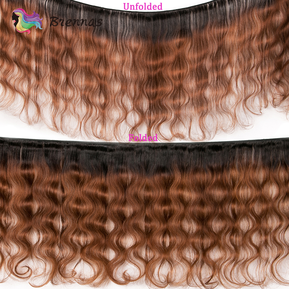 Image 2 - Brennas Body Wave Human Hair Bundles With Closure Ombre 1b30  hair weave with 4*4 lace closure Brazilian non Remy Hair low Ratio3/4 Bundles with Closure   -