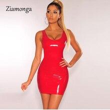 Ziamonga, облегающее сексуальное платье из искусственной кожи, латексные,, женские летние платья из искусственной кожи, Сексуальные клубные, вечерние, короткое платье, женское платье-карандаш Vestidos