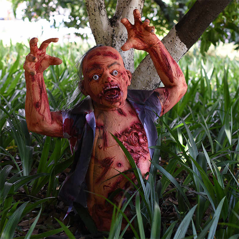 Festa de Halloween Horror Adereços Metade Do Corpo Da Porta Assustar Fantasma Demônio Zombie Corpse Halloween Adereços Tricky Thiller Olhar Feroz Seca