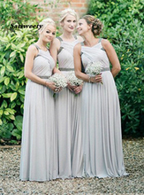 light gray Chiffon Bridesmaid Dresses Pleated Floor Length Plus Size Prom Gowns Maid Of Honor