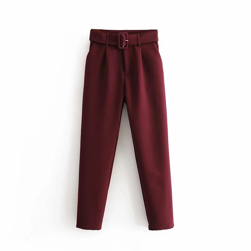 New Womens Wine Red Suit Pants Trousers High Waist Spring Zora Pants Purple Formal Pants Streetwear Zoravicky Capris 2020