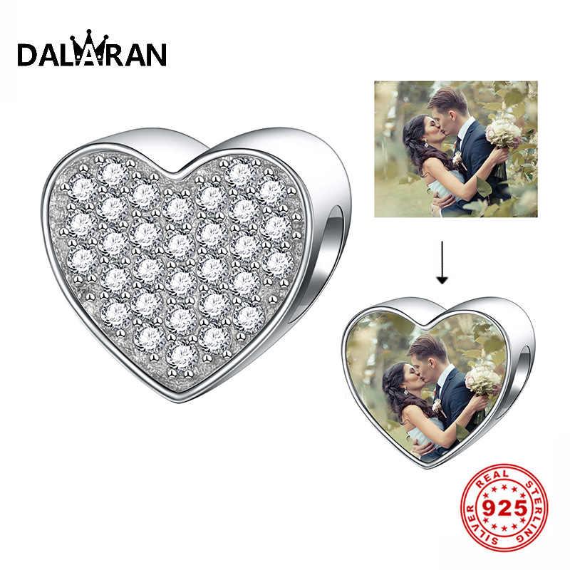 DALARAN נוצץ 925 סטרלינג כסף לב צורת זירקון חרוזים Fit מקורי פנדורה קסם צמיד נשים DIY תכשיטי ביצוע