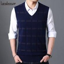 Модный брендовый свитер для мужчин s пуловер с v-образным вырезом облегающий джемпер вязаный жилет без рукавов зимний Корейский стиль повседневная мужская одежда