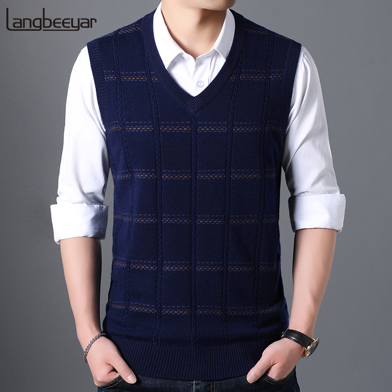 Fashion Brand Sweater For Mens Pullover V Neck Slim Fit Jumpers Knit Vest Sleeveless Winter Korean Style Casual Men Clothes