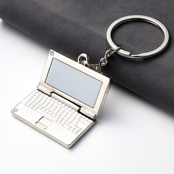 Creative Metal Simulation Notebook Computer Key Chain Car Bag Hanging Accessories Keychain Otaku Electronic Equipment Keyring image