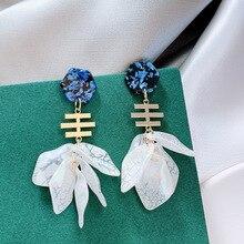 Korean New Flower Petal Long Drop Earrings For Women 2019 Fashion Jewelry Personality Party Pendientes