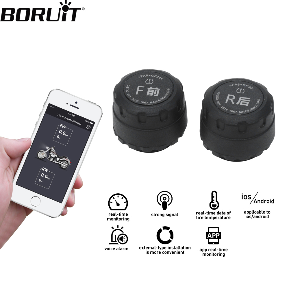 BORUiT Motorcycle Bluetooth Tire Pressure Monitoring System TPMS Mobile Phone APP Detection 2 External Sensors For IOS Android