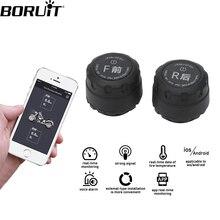 BORUiT نظام مراقبة ضغط الإطارات بلوتوث للدراجات النارية TPMS الهاتف المحمول APP الكشف عن 2 أجهزة استشعار خارجية ل IOS أندرويد