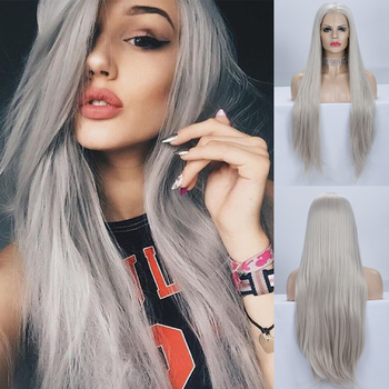 PINKSHOW Grey Wig Long Straight Hair Synthetic Lace Front Wig Glueless Heat Resistant Fiber Wigs For Women Gray Cosplay Wig цена 2017