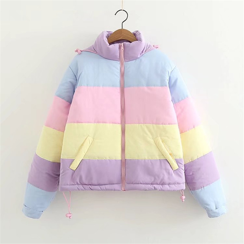 2019 Women Winter Coat Oversize Parkas Short Casual Warm Jacket Striped Winter Clothing Rainbow Stripe Splicing Fluffy Parka