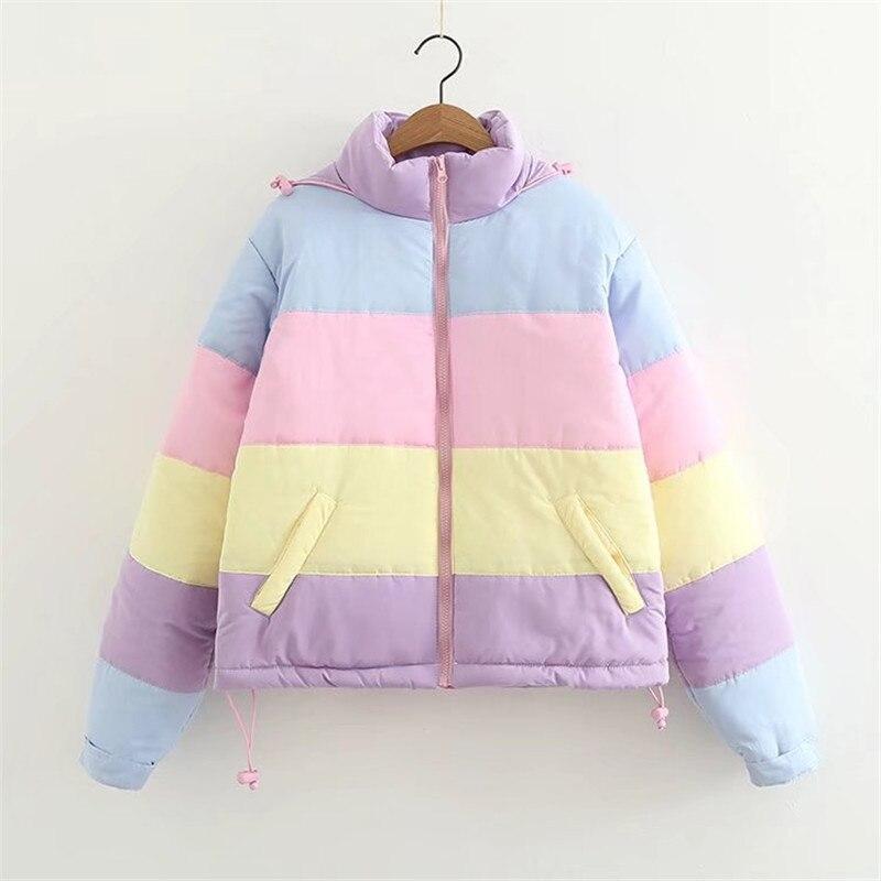 2019 Women Winter Coat Oversize Parkas Short Casual Warm Jacket Striped Winter Clothing Rainbow Stripe Splicing Fluffy Parka
