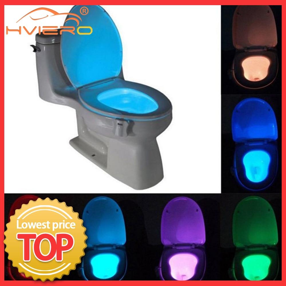 1 adet tuvalet koltuk gece lambası akıllı PIR hareket sensörü 8 renk su geçirmez arka klozet için LED Luminaria lamba WC tuvalet