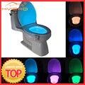 1 stücke Wc Sitz Nachtlicht Smart PIR Motion Sensor 8 Farben Wasserdicht Hintergrundbeleuchtung Für Wc Schüssel LED Luminaria Lampe WC Wc