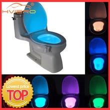 Sensor de movimiento inteligente PIR de luz nocturna para asiento de inodoro, impermeable de luz de fondo para inodoro 8 colores, Luminaria LED, WC, 1 Uds.