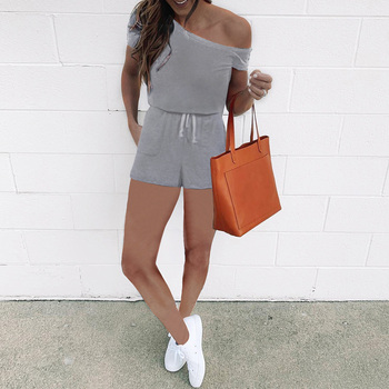 Casual Jumpsuit Women Summer Daily Party Short Sleeve Off Shoulder High Waist Lace Pocket Playsuit Romper Q30