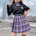 JK A-linie Rock Sommer Frauen Röcke Hohe Taille Koreanische Stil Plissee Röcke Für Mädchen Nette Süße Damen Plaid Mini-Rock frauen