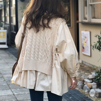 Autumn Vest Patchwork Shirt Fake Two-piece Temperament Korean Women New Loose Casual Pullover Lady O Neck Fashion Tops