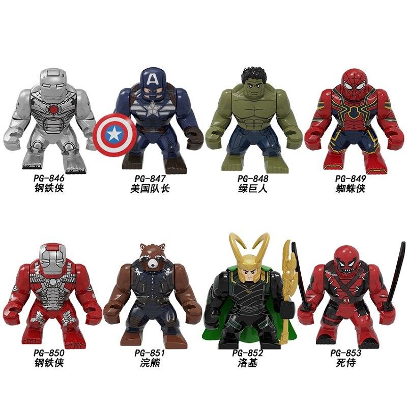 Building Blocks 7cm Super Heroes Iron Man Captain America Hulk Spiderman Loki Deadpool Figures Learning Toys For Children PG8261